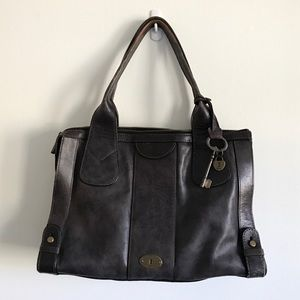 Fossil Vintage Reissue Black Leather Tote/Satchel